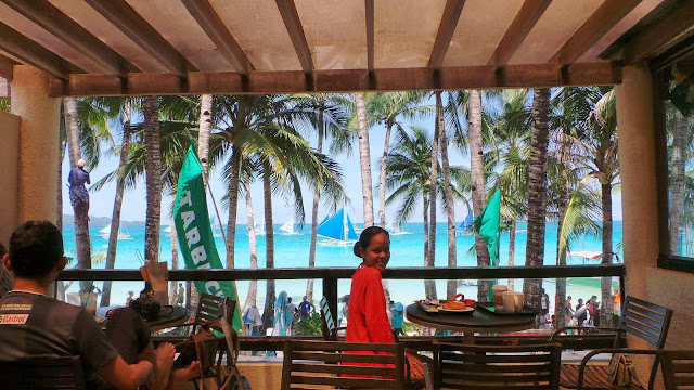 Breakfast by the beach at Starbucks Boracay