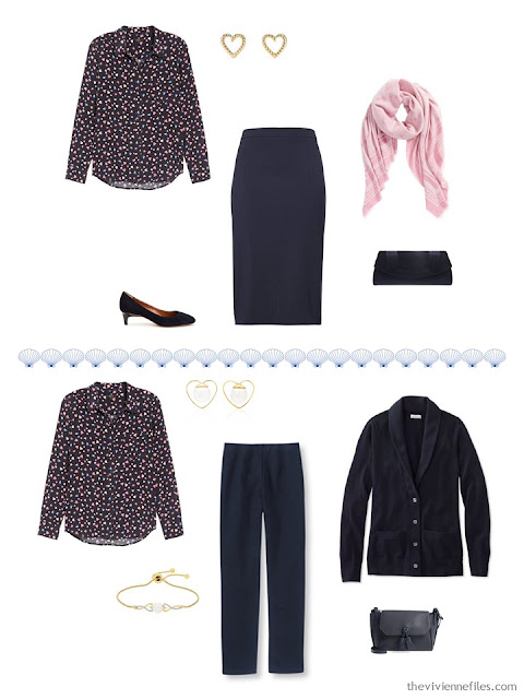 2 ways to wear a dressy blouse from a 4 by 4 Travel Capsule Wardrobe