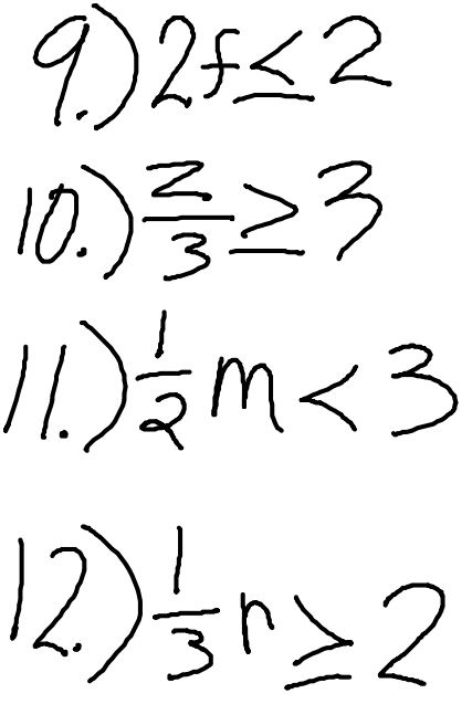 Mr. Howards ESOL Math: 2.28 6th Inequalities By Division