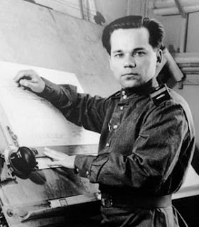 Mikhail Kalashnikov on the drawing board designing the AK-47 rifle