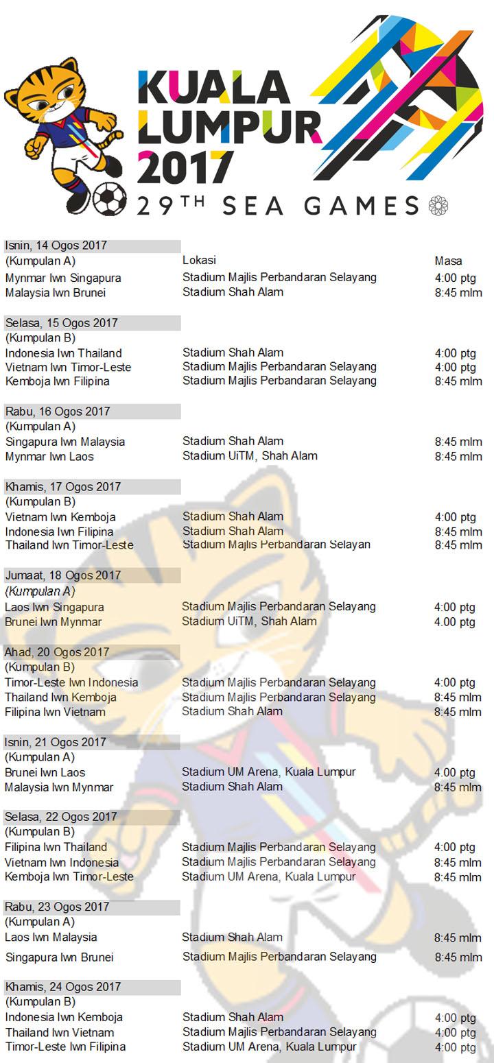 Jadual Lengkap Perlawanan Bolasepak Sukan SEA 2017