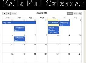 Code4Rails: full calendar in rails3 , jquery full calendar