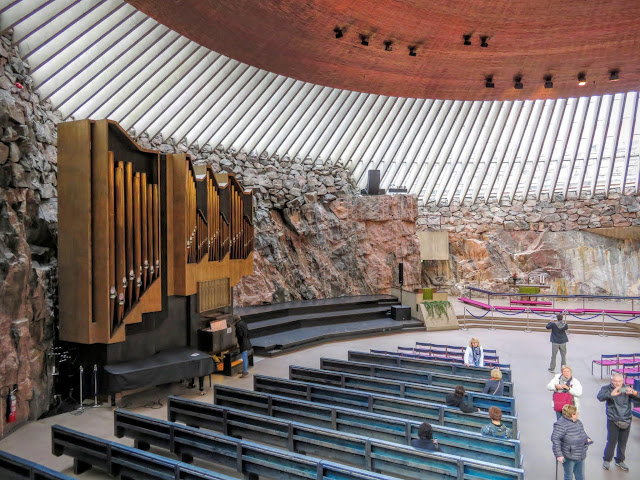 Pipe organ and interior of the Rock Church in Helsinki, Finland