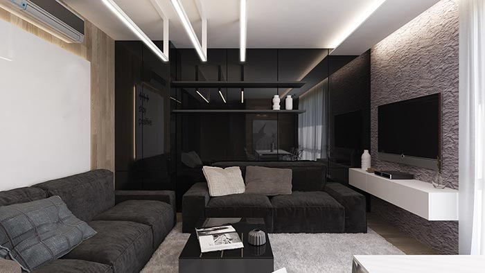 parlak siyah oturma odası dekorasyonu
