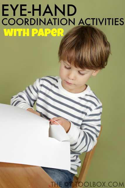 Child using paper to work on eye-hand coordination skills.