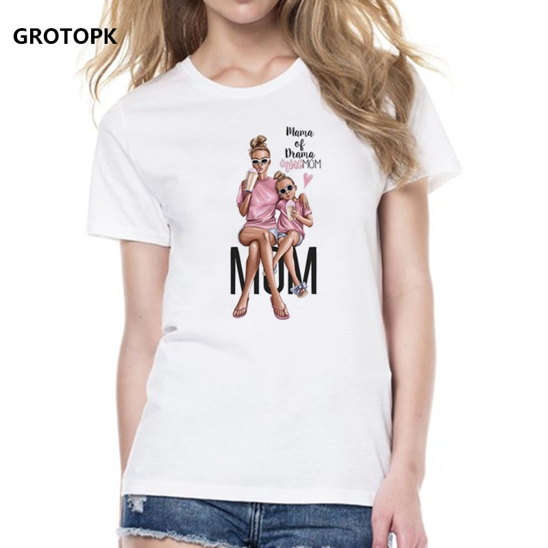 f2186d1b Mother's Love T Shirts Family Series Summer 2019 Funny T Shirt Women White T -shirt Korean Fashion Clothing Streetwear Vogue Top. Size: XS S M L XL