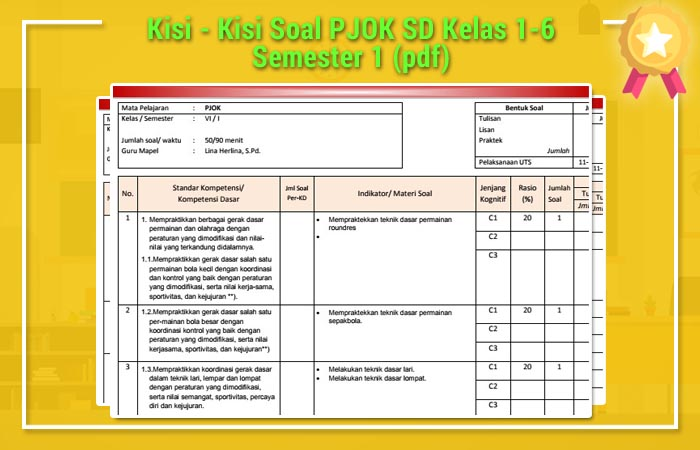 Kisi Kisi Soal Pjok Sd Kelas 1 6 Semester 1 Pdf