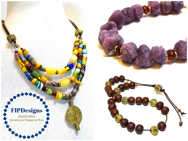 If you like vibrant colors and rich textures in your bling, you need to meet my friend Rebecca, from FIPDesigns on Etsy.