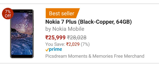 Nokia 7 Plus become No.1 Bestseller on Aamzon