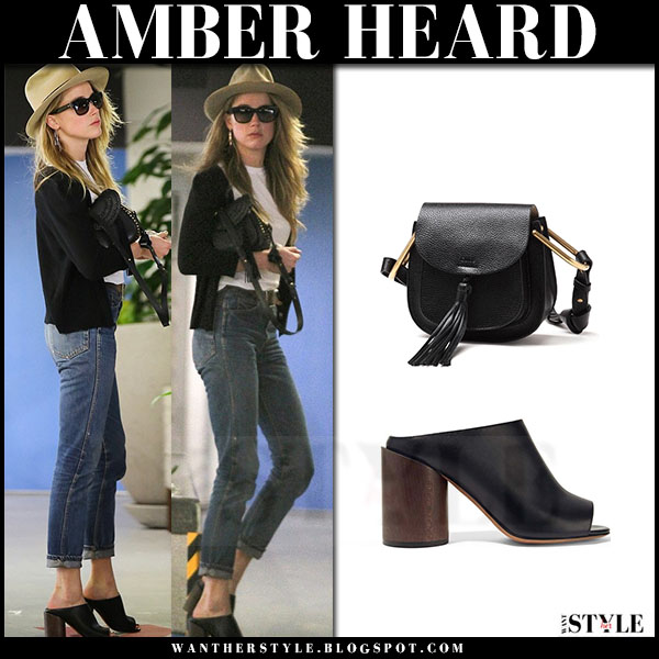 Amber Heard in black leather mules givenchy ramia what she wore