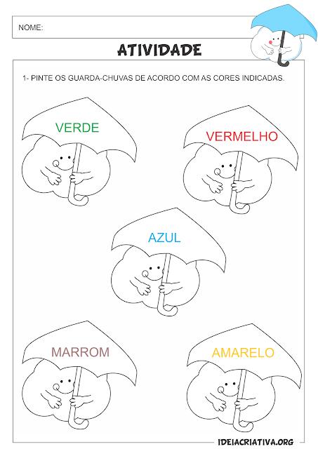 Atividade Inverno e Cores Nuvenzinha com guarda-chuva