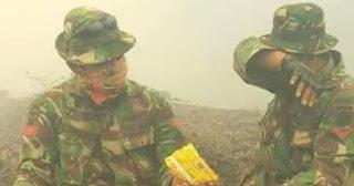 aksi relawan dan TNI padamkan kebakaran hutan