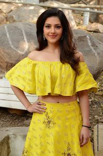 Mehreen Pirzada stunning yellow dress at Studio Green Gna Raja Film Muhurat