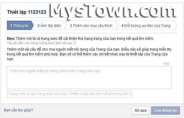thiet lap fanpage facebook