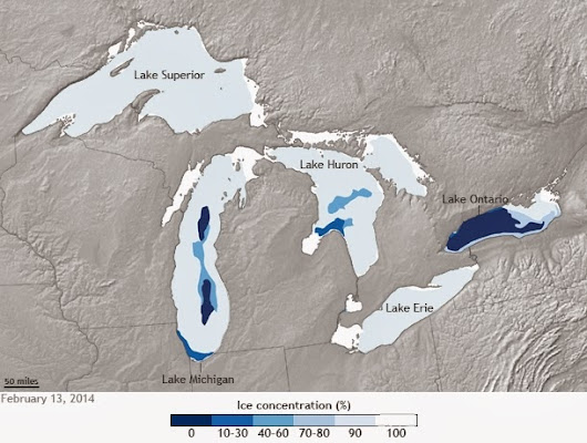 Winter of 2013/2014-- ice coverage of Great Lakes nearing a record