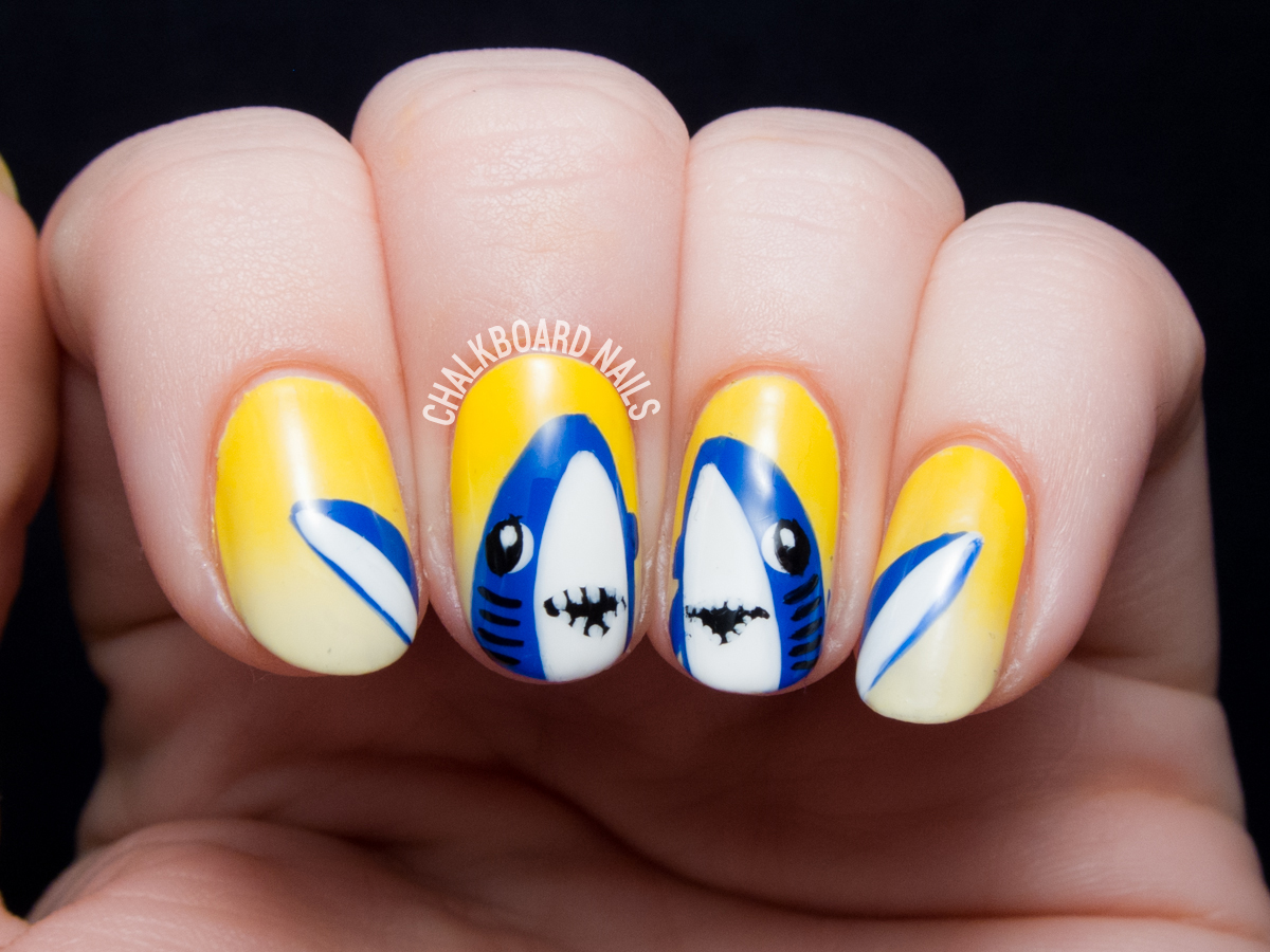 Katy Perry Shark Nails by Sarah Waite of ChalkboardNails.com