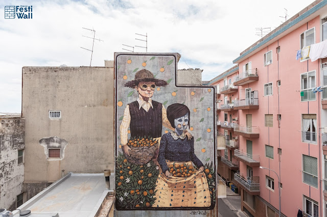 While we last heard from him in Las Vegas a few days ago, Pixel Pancho flew straight to lovely sicily for the FestiWall Street Art Festival.