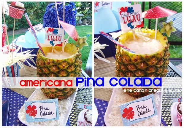americana pina colada, how to make a pina colada, luau, BBQ cocktail