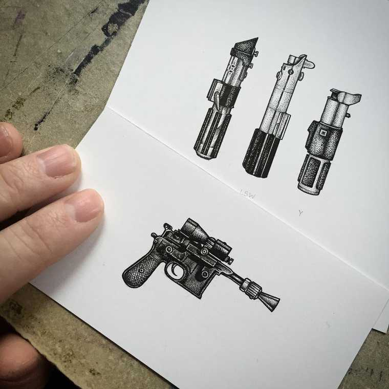 06-Star-Wars-Weaponry-DL-44-Blaster-Lightsaber-Paul-Jackson-Star-Wars-Miniature-Drawings-www-designstack-co