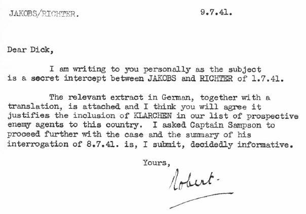 July 9, 1941 - KV 2/26 - 101x - Camp 020 to MI5 re: Clara as a possible Abwehr Spy.