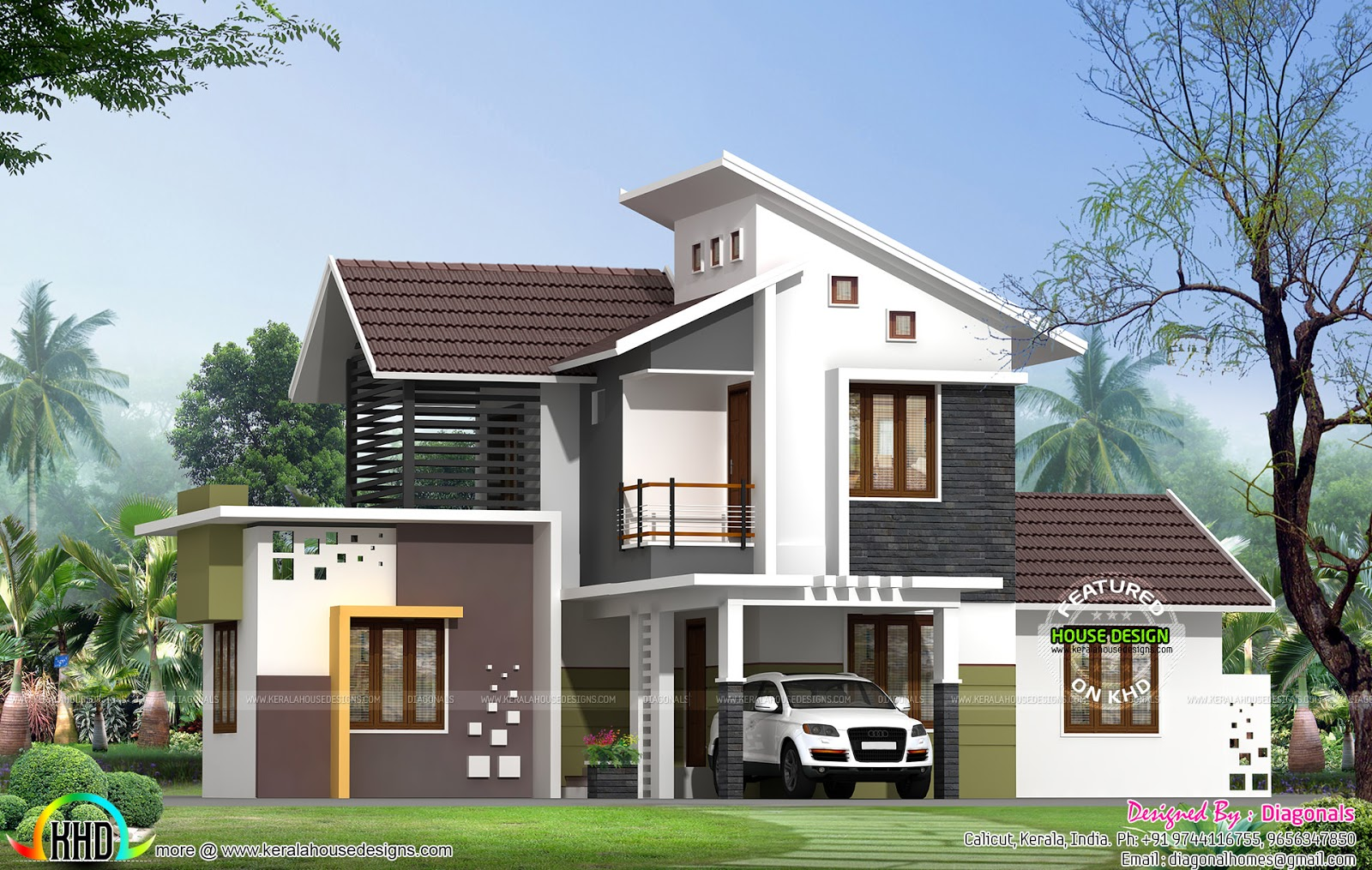 Simple model modern home kerala home design and floor plans for Minimalist house kerala