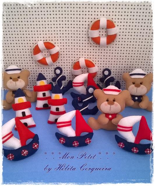 ursinho-marinheiro-em feltro-tema marinheiro-lembrancinha-maternidade-barco em feltro-farol em feltro-boia em feltro-âncora em feltro