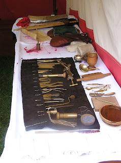 Display of replica medical instruments