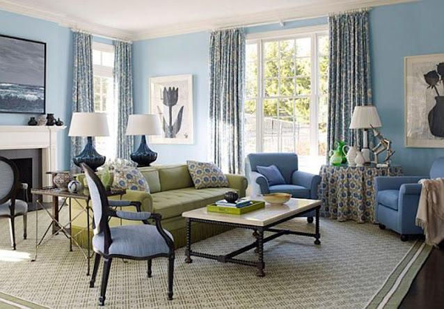 Sky Blue Living Room Design Ideas