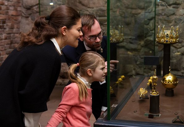 Crown Princess Victoria and Princess Estelle of Sweden visited the Royal Treasury at the Royal Palace of Stockholm