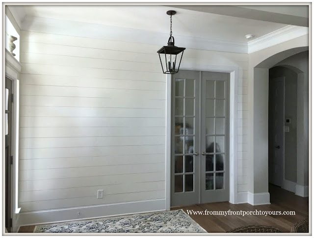 French Country Farmhouse Foyer-FRench Farmhouse-DIY-Shiplap-Sherwin Williams Alabaster--From My Front Porch To Yours