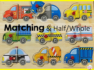 Transportation In Speech Therapy- Half Whole and Matching Puzzle