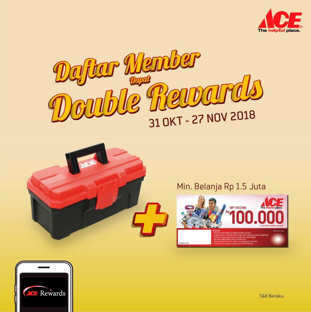 AceHardware - Promo Daftar Member Dapat Double Reward + Gift + Voucher 100 Ribu