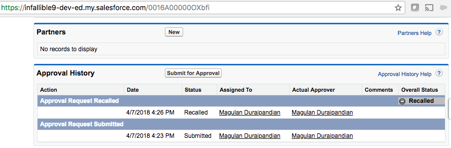 Infallible Techie: Recall Approval Process using Apex in