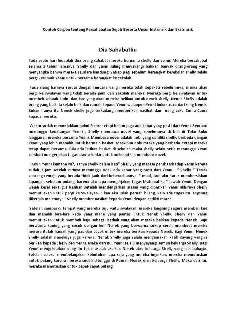 Contoh Cerpen Beserta Unsur Intrinsik Dan Ekstrinsik Wood Scribd Indo