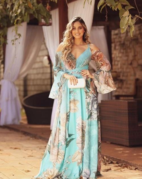 vestido longo floral festa