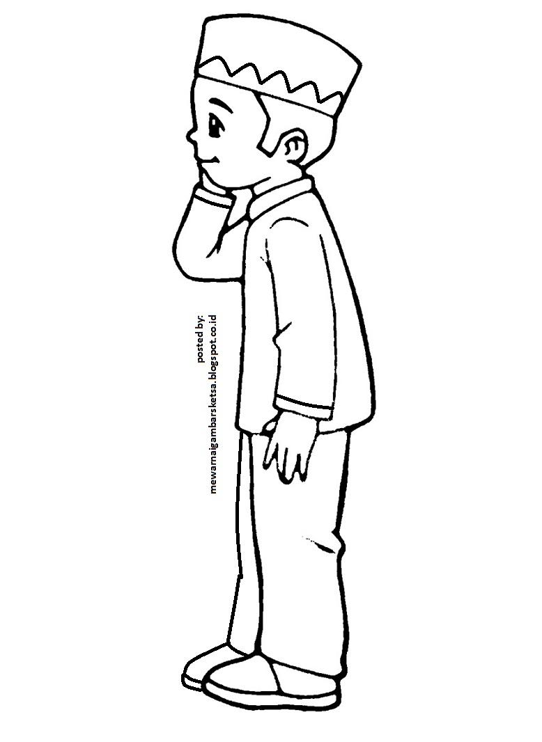 Mewarnai Gambar Mewarnai Gambar Sketsa Kartun Anak Muslim 15 Sedang