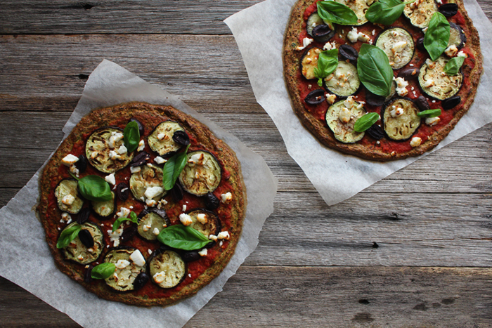 Grilled Eggplant & Goats Cheese Pizza