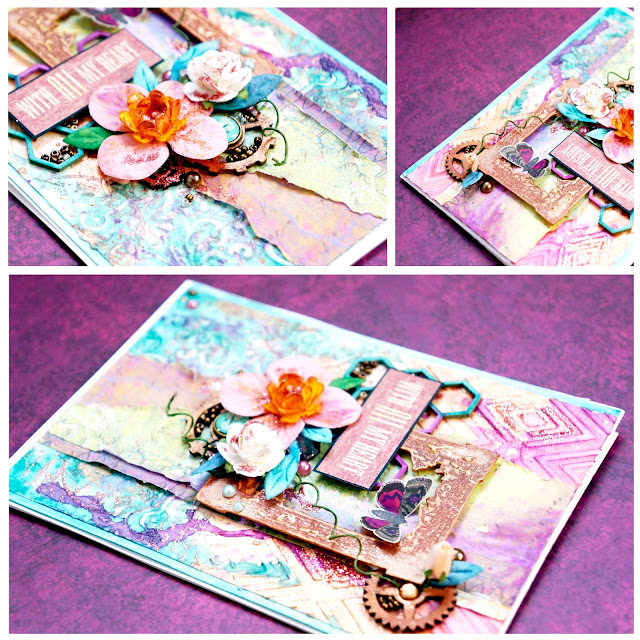 A mixed media card by texture paste, watercolors, sprays.