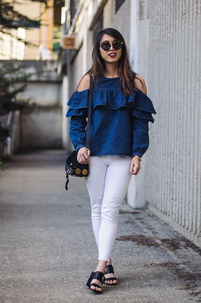san francisco fashion blogger wearing asos cold shoulder top chloe kurtis bag mac retro matte lipstrick in carnivorous