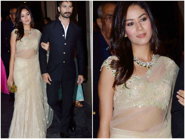 Mira Rajput-Kapoor in Golden Net Half Saree at Masaba Gupta's Wedding Reception