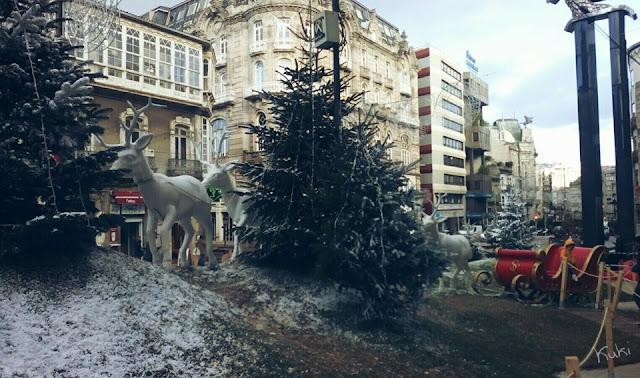 calle del principe, Vigo, trenó, Navidad, decorações de Natal