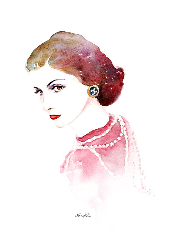 05-Coco-Chanel-Soo-Kim-Celebrity-Watercolor-Portraits-www-designstack-co