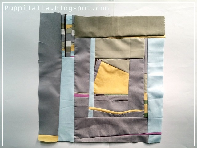 Puppilalla, Gwen Marston, Improv Block, Patchwork, Liberated Quilting, Improv quilting