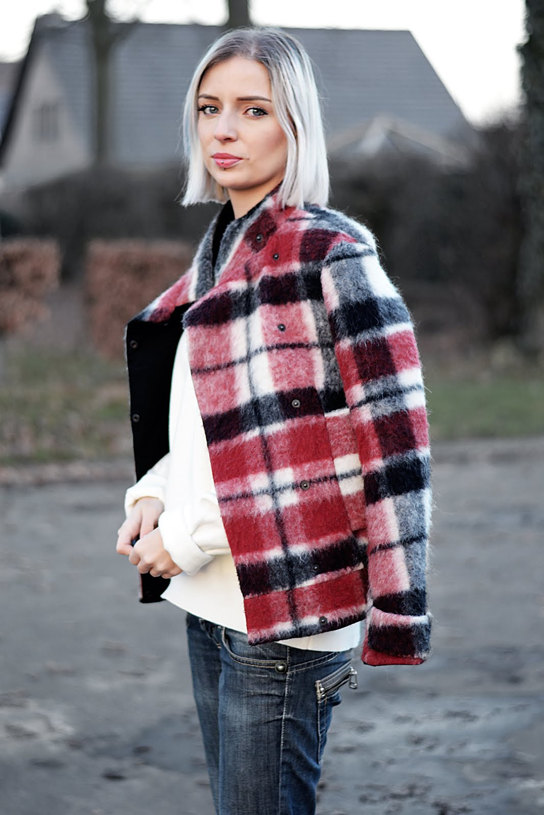 Tartan, checkered, jacket, zara, red, winter