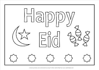 Free printable Happy Eid colour-in placemat.