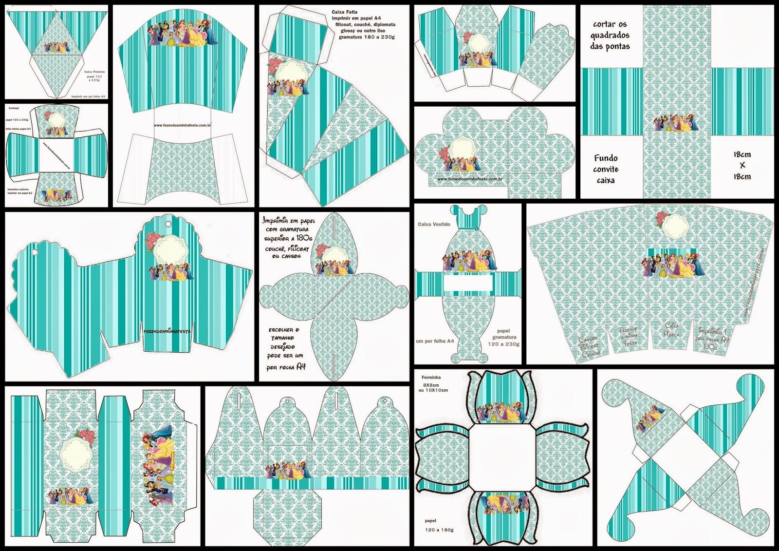 Todas las Princesas Disney: Cajas para Imprimir Gratis.