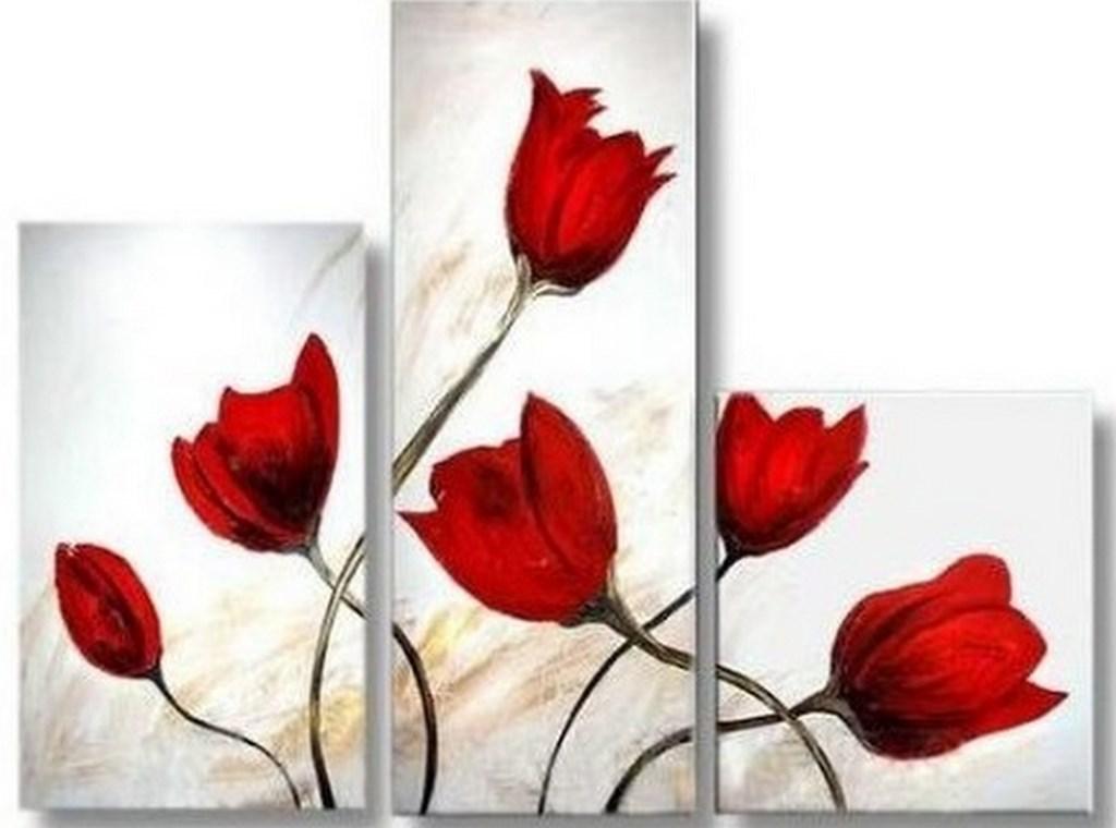 Cuadros modernos pinturas y dibujos tulipanes cuadros Cuadros tripticos modernos para comedor