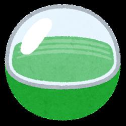 おもちゃのカプセルのイラスト(空・緑)