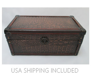 Vintage Decorative Storage Faux Alligator Box