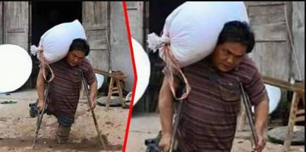 Fisik Tak Sempurna Seorang Ayah Banting Tulang Demi Hidupi Anak-anaknya